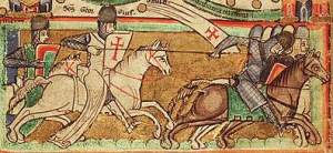 Templar riding into battle from a Map_of_Jerusalem-c1200_th